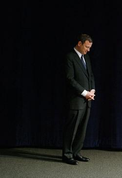 United States Supreme Court Chief Justice John Roberts prepares to take the stage.