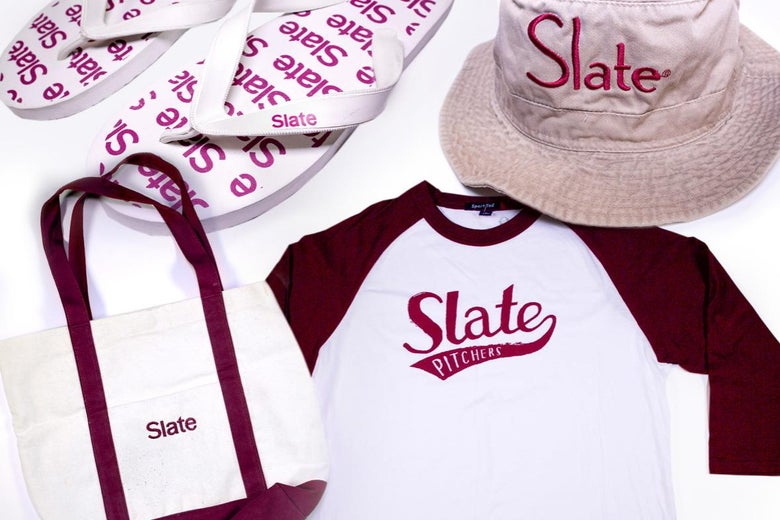 collage of 4 pieces of Slate logo swag: flip flops, bucket hat, tote bag, baseball t-shirt