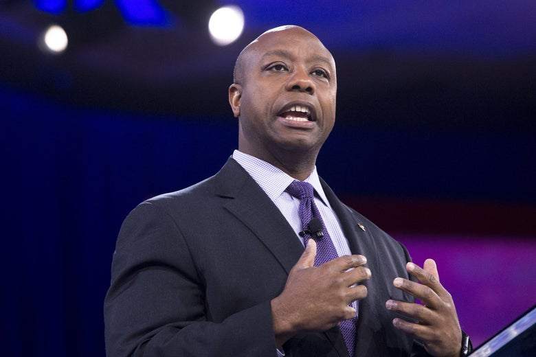 Senator Tim Scott, Republican of South Carolina, speaks during the annual Conservative Political Action Conference in 2016.