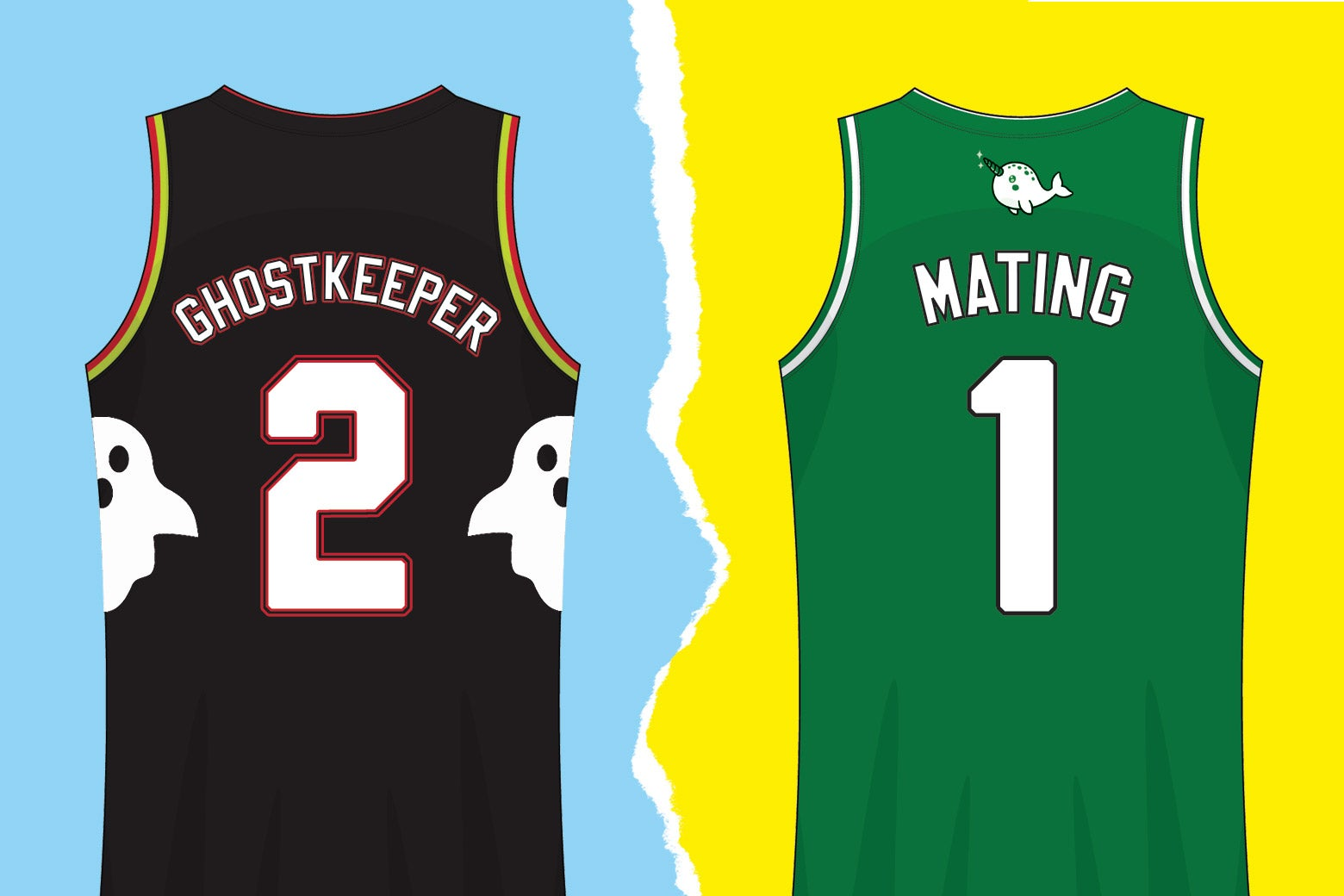 Two basketball jerseys depicting fictional players Jimbob Ghostkeeper and Dr. Narwahls Mating.