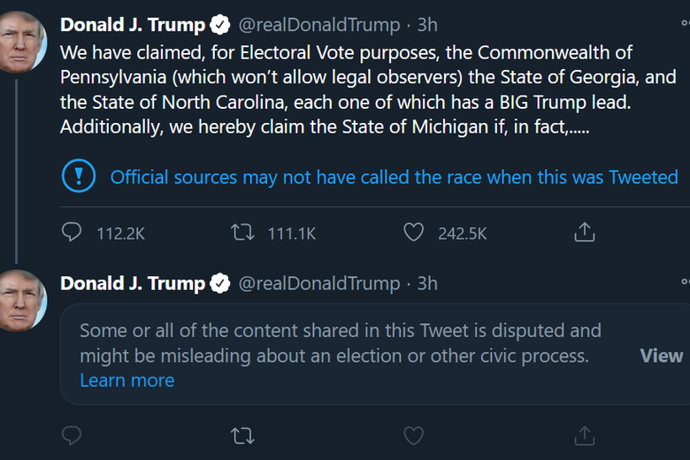 "A label on a Trump tweet about ""claiming"" victory in Pennsylvania, Georgia, North Carolina, and Michigan with a label saying official sources may not have called this race."