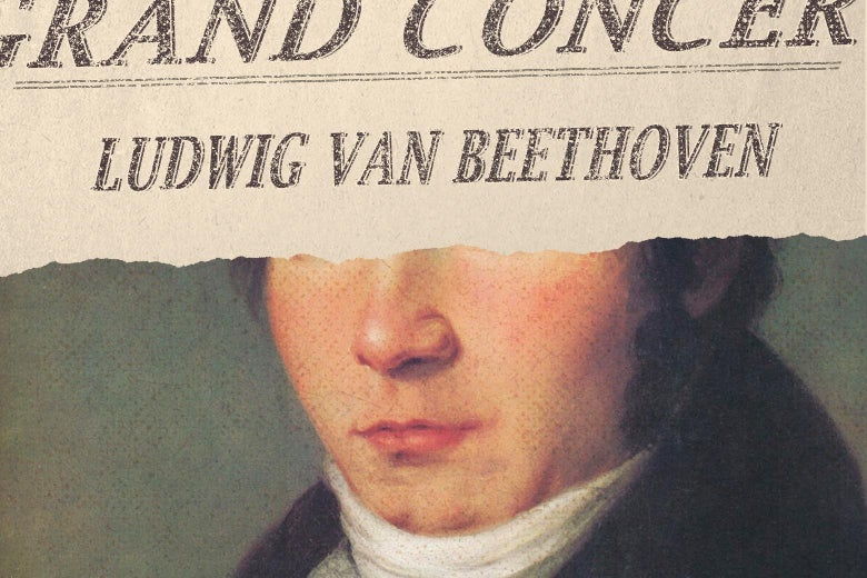 A portion of a program for a Ludwig van Beethoven is seen imposed over the top half of his face.
