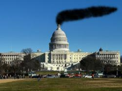 Capitol building with smoke Photoshopped pouring out of it