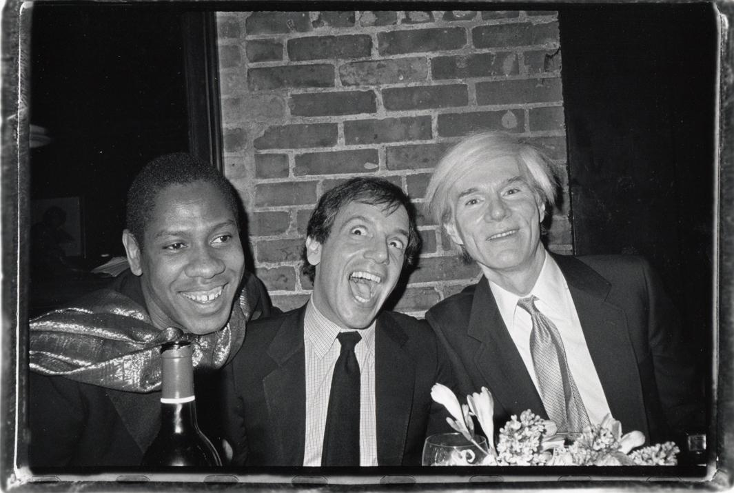 André Leon Talley, Steve Rubell, Co-Owner of Studio 54, and Andy Warhol at a Birthday Dinner Given for Bianca Jagger by Carolina and Reinaldo Herrera at Mortimers, 1981