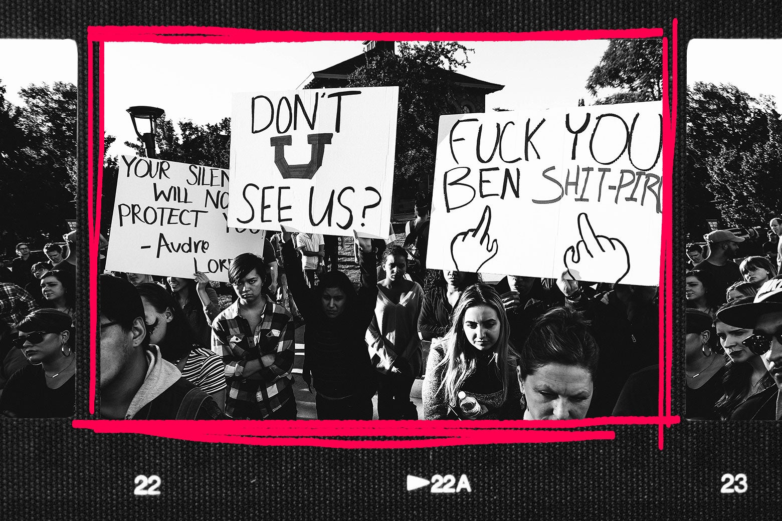 A contact sheet showing a student protest against Ben Shapiro at the University of Utah.