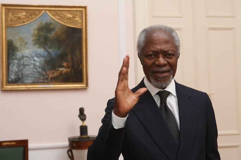 Former Secretary-General of the United Nations Kofi Annan attends a dinner in honor of Former German President Horst Koehler during the latter's 75th birthday at Bellevue Palace on March 8, 2018 in Berlin, Germany.