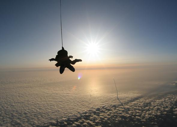 skydiver and rocket launch