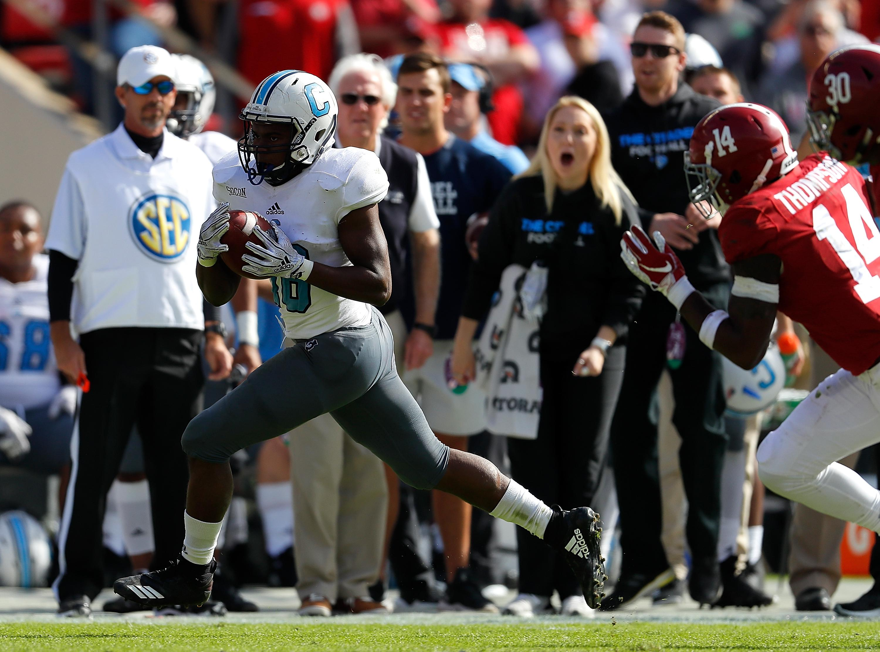TUSCALOOSA, AL - NOVEMBER 17:  Dante Smith #18 of the Citadel Bulldogs rushes for a touchdown against the Alabama Crimson Tide at Bryant-Denny Stadium on November 17, 2018 in Tuscaloosa, Alabama.  (Photo by Kevin C. Cox/Getty Images)