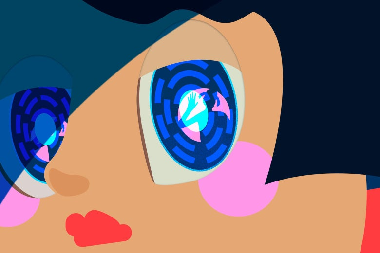 A robotic girl with a child's image reflected in her eye.
