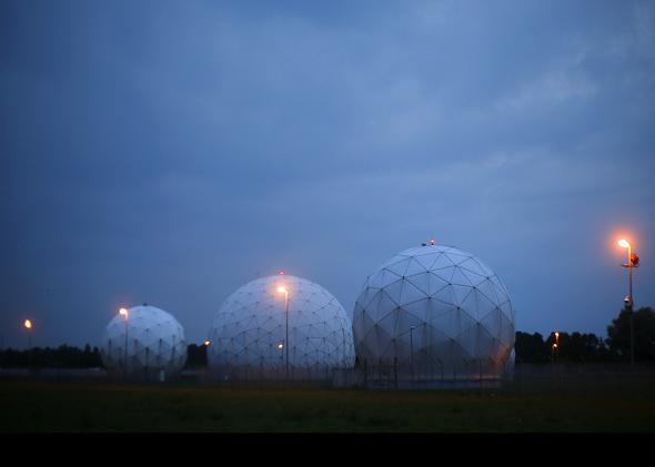 A general view of the large former monitoring base of the U.S. intelligence organization National Security Agency (NSA) during break of dawn in Bad Aibling south of Munich.