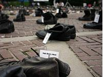 Boots honoring Capt. Brent Morel, who was killed outside Fallujah, Iraq