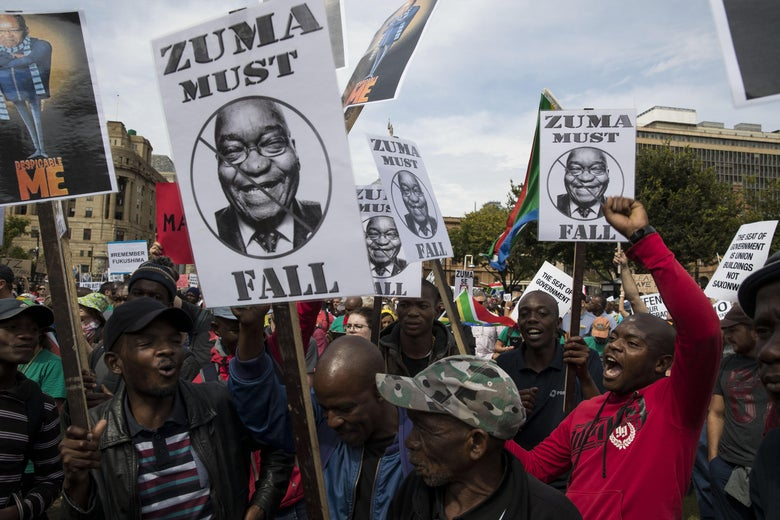 PRETORIA, SOUTH AFRICA - APRIL 7, 2017: South African political opposition activists gather in Pretoria, on April 7, 2017 at a march calling for the ousting of the embattled President Jacob Zuma. President Jacob Zuma is facing pressure to step down following a controversial cabinet reshuffle and mass corruption charges. (Photo by Brent Stirton/Getty Images)