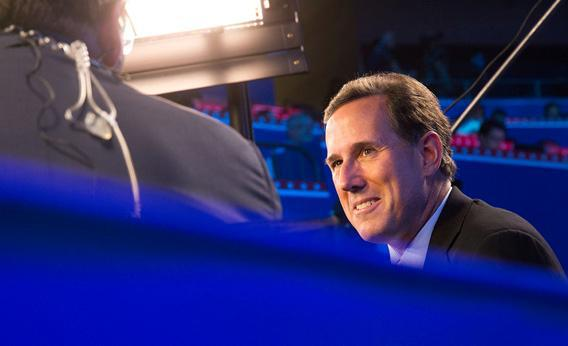 Rick Santorum gets interviewed by Fox News at the Republican National Convention in Tampa, Fla.