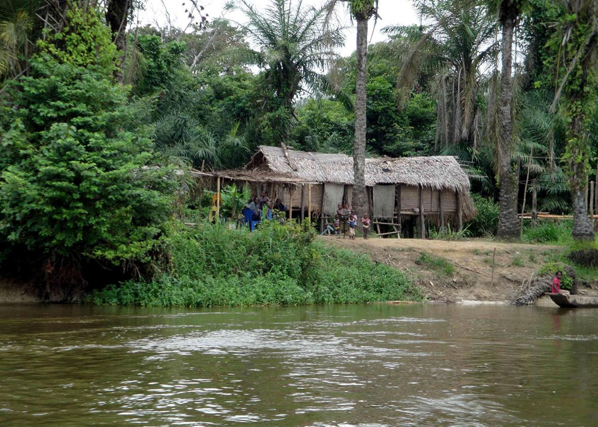 A village on the bank of the Congo River, DRC, March 30, 2015.