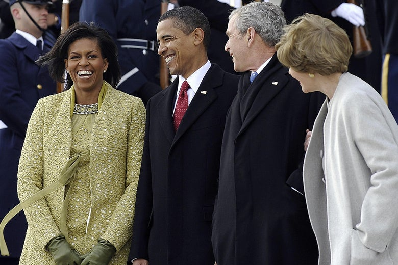 From left, Michelle Obama, President Barack Obama, President George W. Bush, and Laura Bush