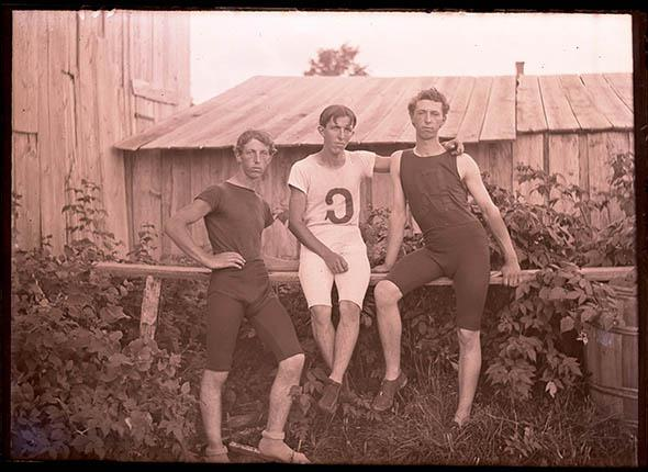 Elmer, Arthur and Walter Nelson in Athletic Suits.