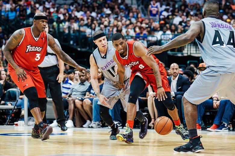 """A possible image of Ahmed Al-Rumaihi in a BIG3 basketball match between the Ghost Ballers and Trilogy on July 30 at the American Airlines Center in Dallas. """"srcset ="""" https://compote.slate.com/images/32e67e3f-f21c-4f65-9fe8-a8efcb268806.jpeg?width=780&height=520&rect= 1560x1040 & offset = 0x0 1x, https://compote.slate.com /images/32e67e3f-f21c-4f65-9fe8-a8efcb268806.jpeg?width=780&height=520&rect=1560x1040&offset=0x0 2x"""