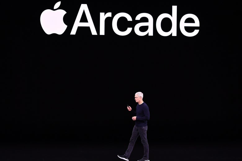 Apple CEO Tim Cook speaks on-stage during a product launch event at Apple's headquarters in Cupertino, California, on September 10, 2019.