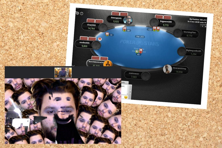 A crazy Zoom background with a picture of Jasper's face, fractured; an online poker table.