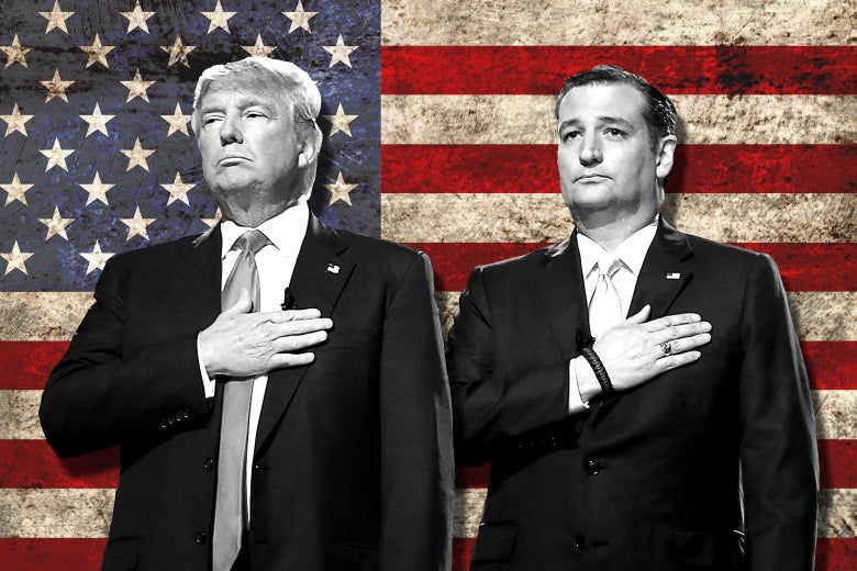 Collage of Trump and Cruz, each standing with his right hand over his heart, in front of an American flag