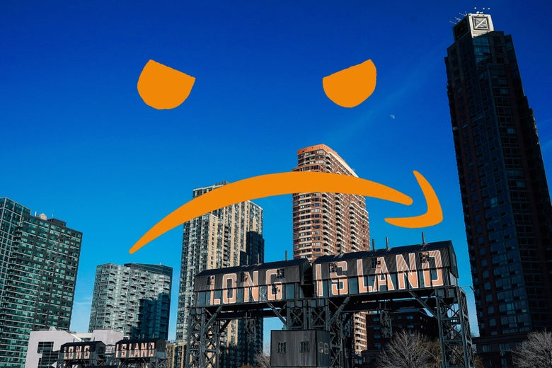 Amazon logo upside down to make a frown over an image of Long Island City
