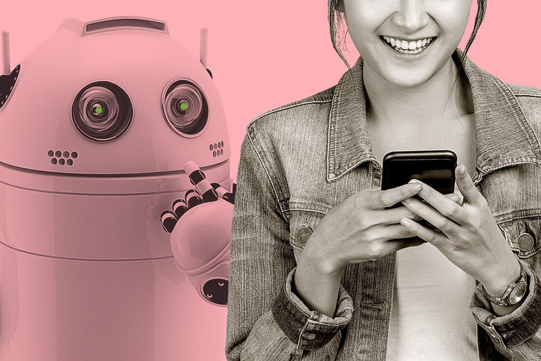 A woman smiles as she looks at her phone, while a robot looks over her shoulder.