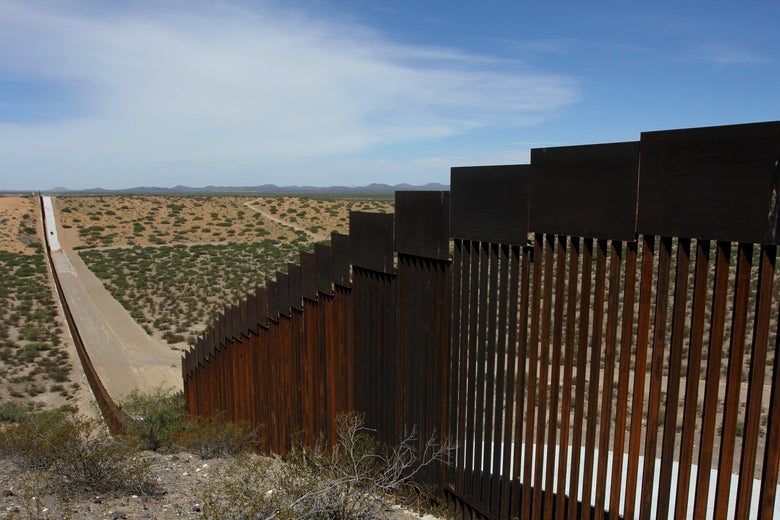 A portion of the wall on the U.S.-Mexico border