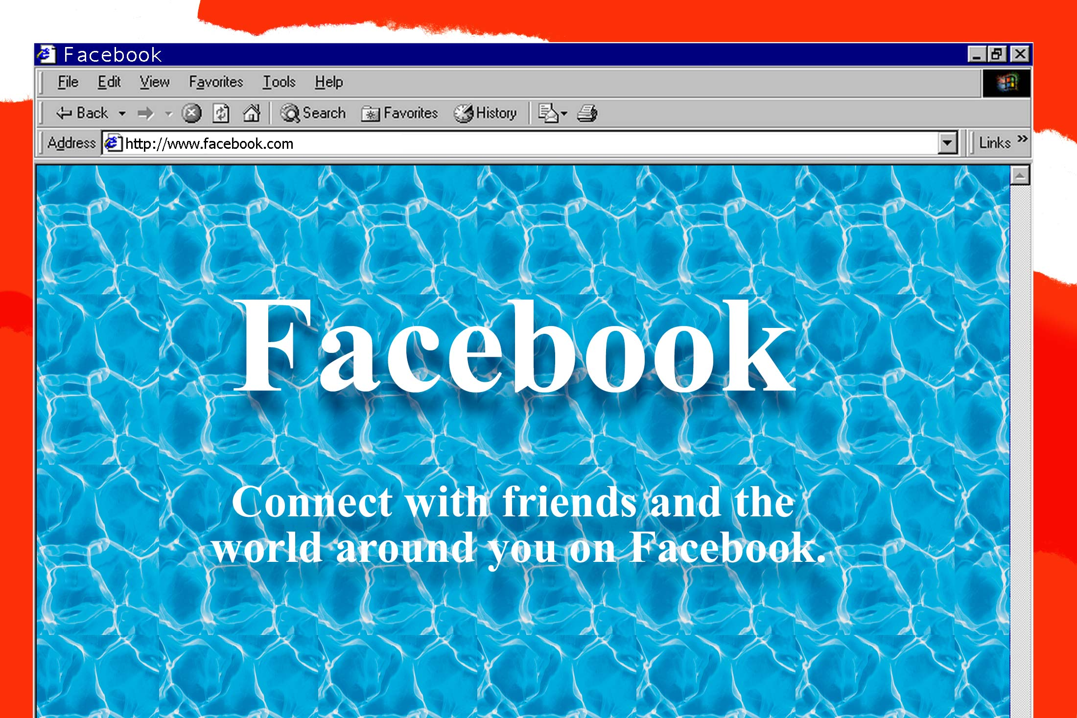 Facebook home page styled to look like a GeoCities site.