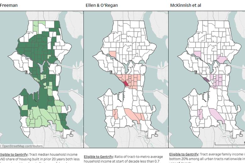 Three models of gentrification in Seattle since the 1970s.