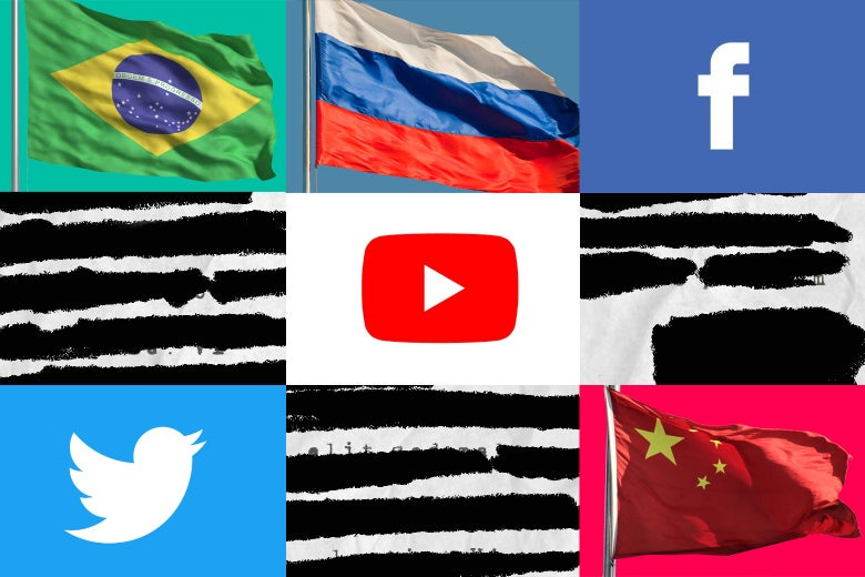 Collage of flags, social logos, and blacked out papers.