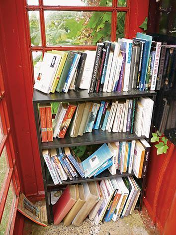 Longstock Parish Council's telephone-box library.