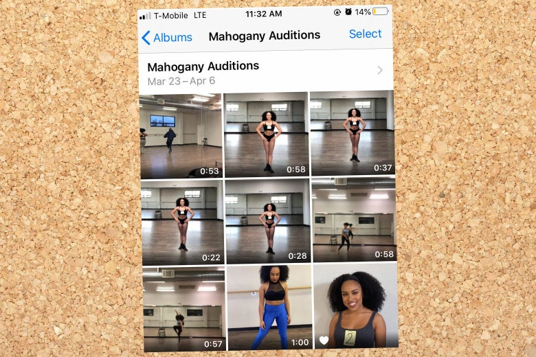 A still of an iPhone folder full of videos of Olivia dancing.