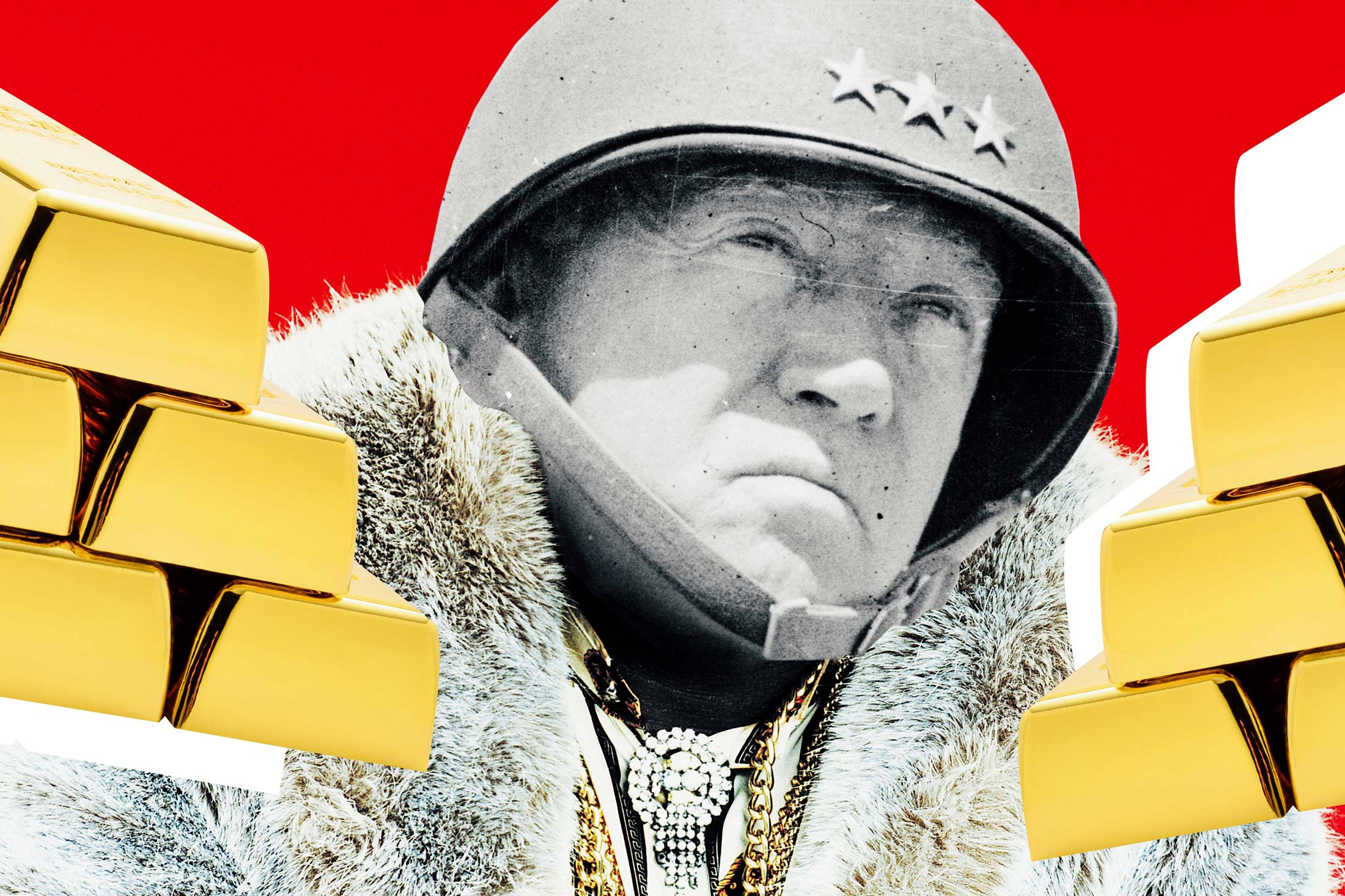 Photo of a blinged out George Patton surrounded by gold bricks.