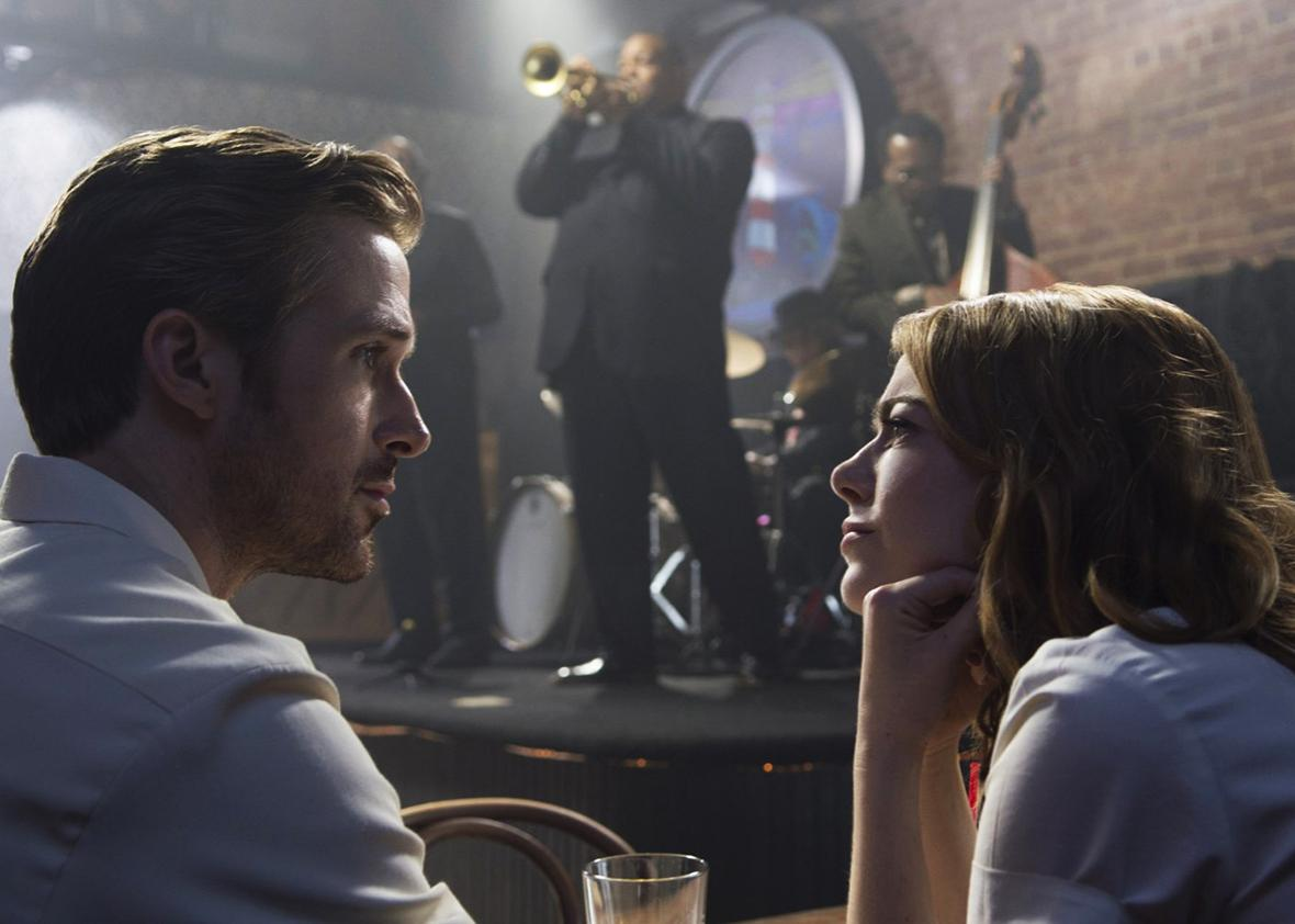 Ryan Gosling and Emma Stone in La La Land.