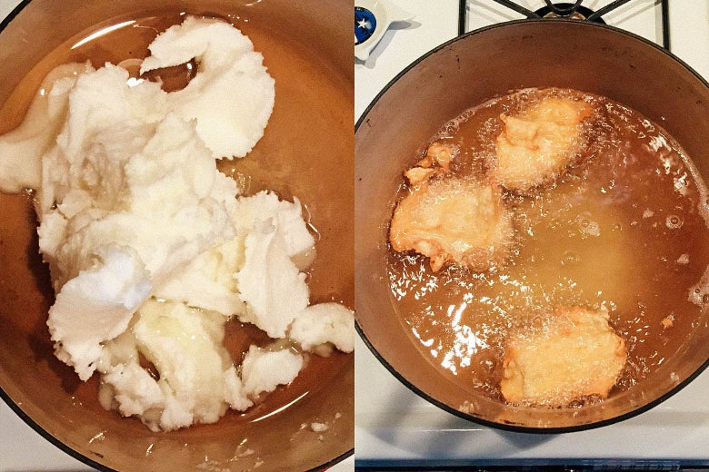 Side-by-side photos of Dutch oven full of lard, and some bubbling oily cakes.