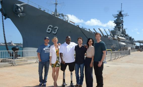 The USS Missouri and the stars of Battleship