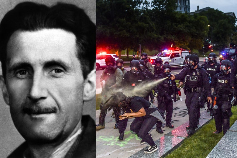 George Orwell and a recent image of police using pepper spray on a protester.