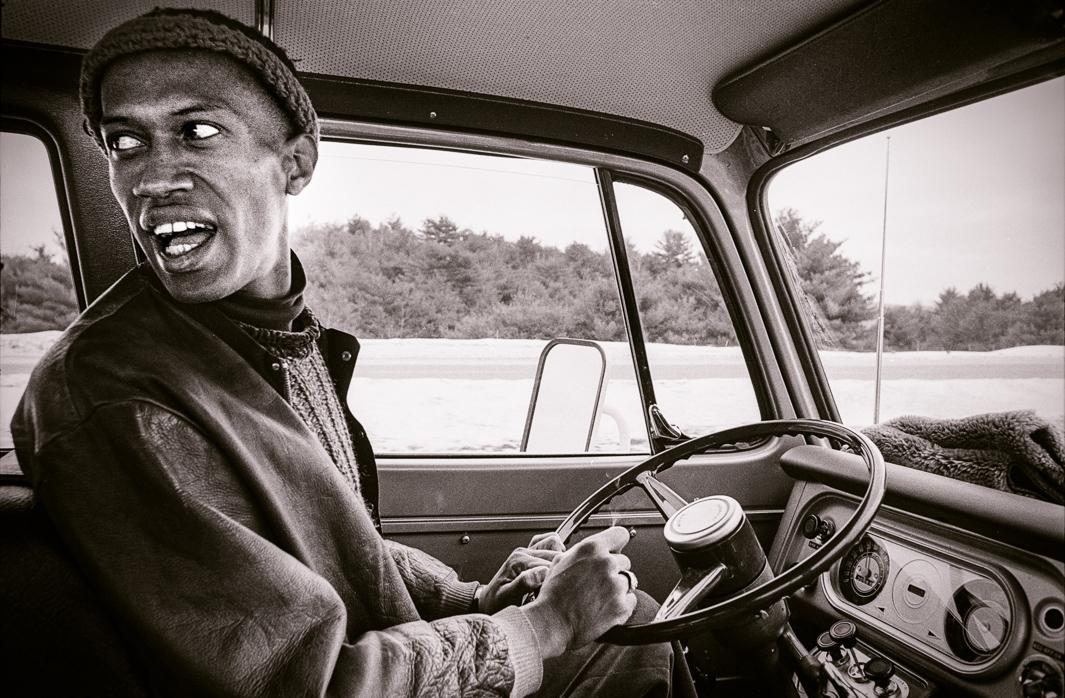 Don Cherry driving to concert in Boston, I-89 New Hampshire, 1970.