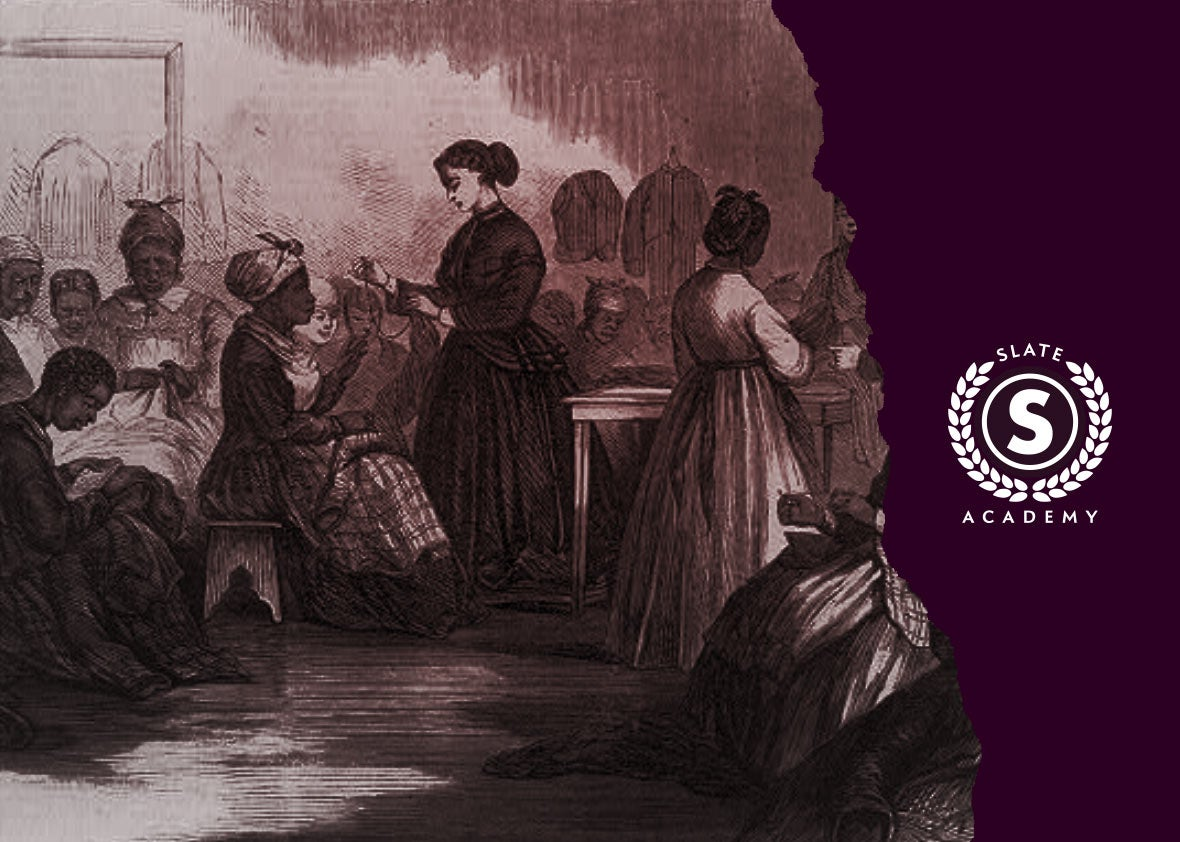A historic drawing shows black women together in a room. Plus, a Slate Academy logo.