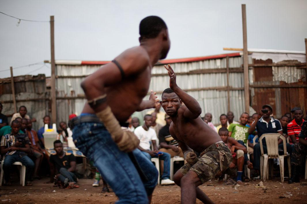 Lagos, Nigeria- Autan Sikido, 27, originally from Kaduna State, prepares to strike during a match in Lagos, Nigeria.