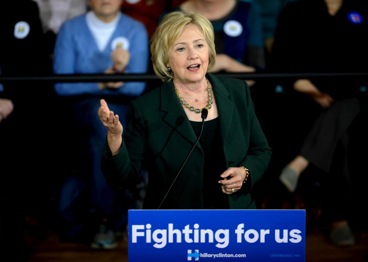 U.S. Democratic presidential candidate Hillary Clinton speaking in Iowa City, Iowa, Dec. 16, 2015.