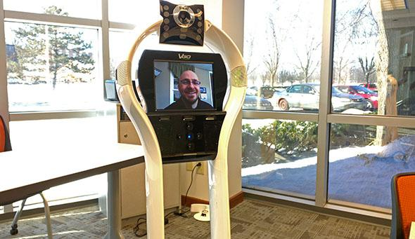 The telepresence robot at the Nexus Academy of Columbus.