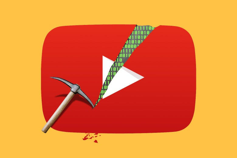 Photo illustration of a pickax cutting a hole of into the YouTube logo revealing 0's and 1's.