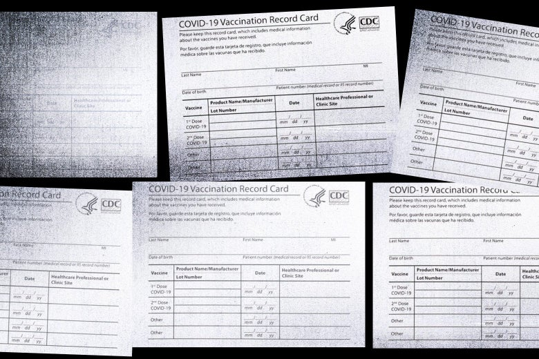 A collage of COVID vaccine cards.