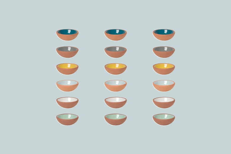 Three rows of six colorful pinch bowls