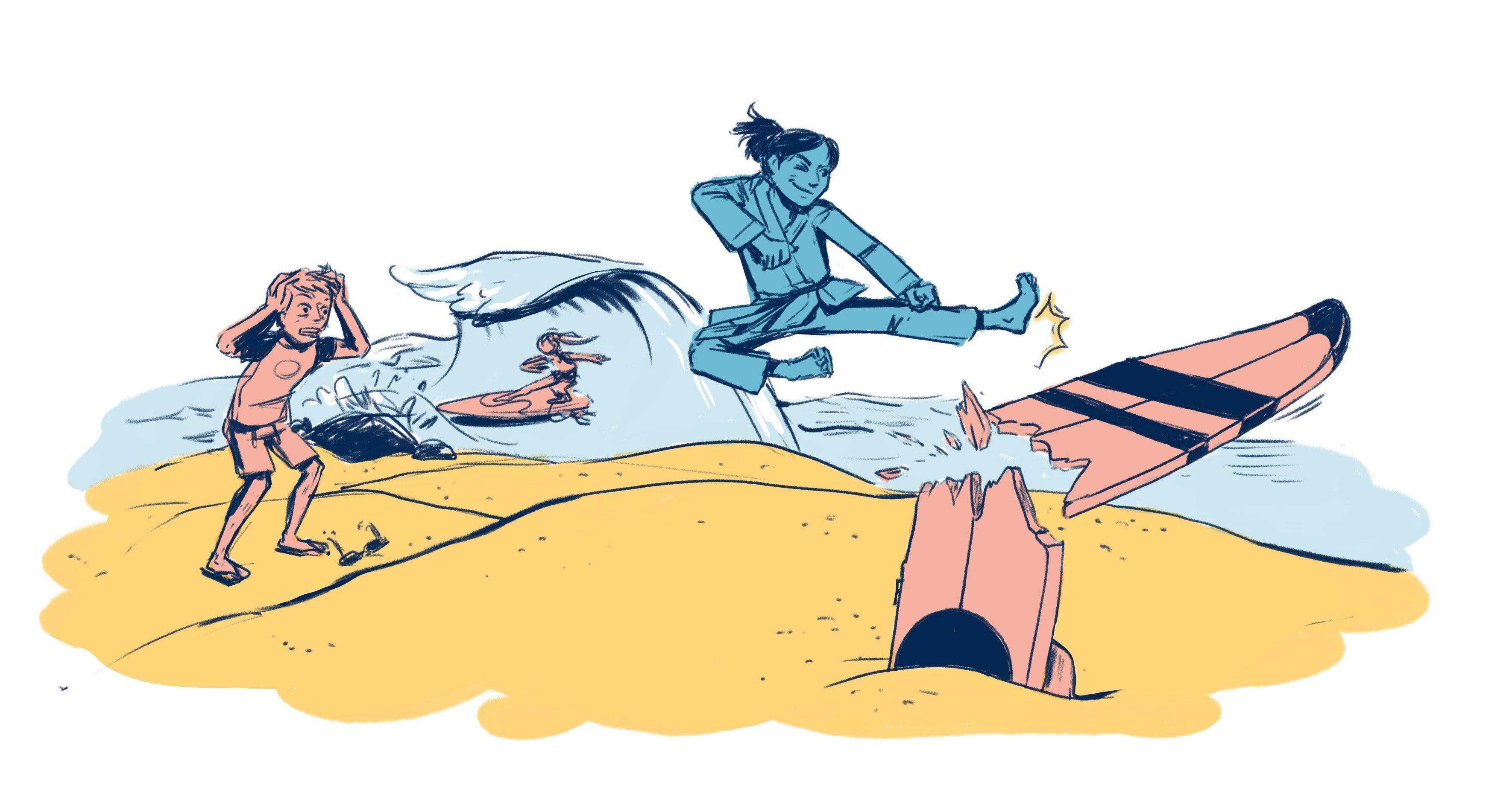 An athlete karate kicks a surfboard.