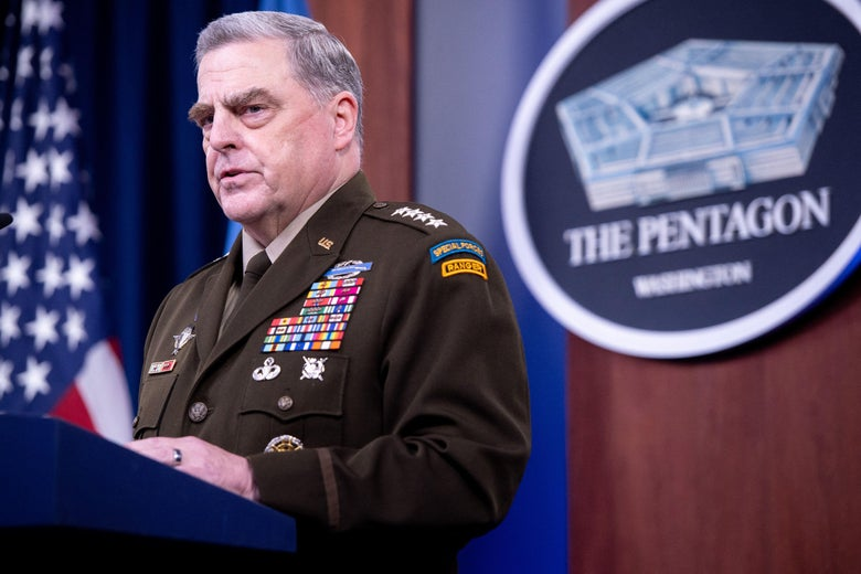 Gen. Mark Milley, Chairman of the Joint Chiefs of Staff, holds a press briefing at the Pentagon in Washington, D.C. on September 1, 2021.