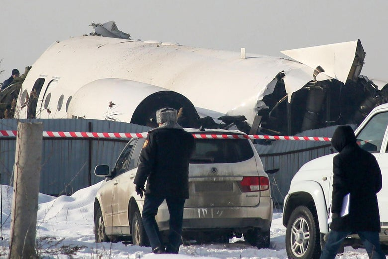 A view of the site of a passenger plane crash outside Almaty on Dec. 27, 2019.
