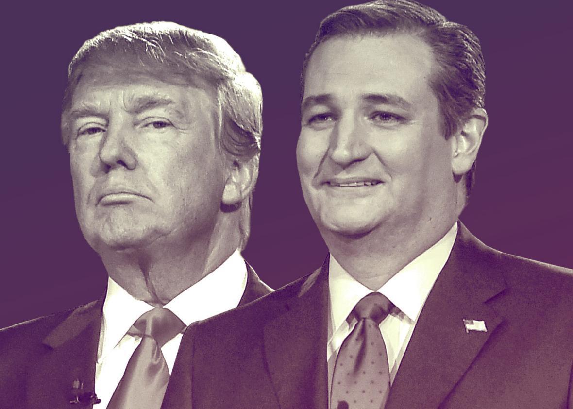 Republican presidential candidates Donald Trump (L) and Sen. Ted Cruz
