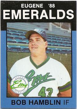Baseball card of Eugene Emerald Bob Hamblin.